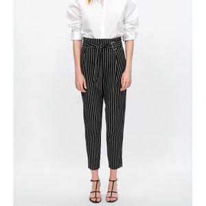 ZARA High waisted Striped Trouser with Belt